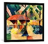 Gerahmtes Bild von August Macke Garteneingang, Kunstdruck im hochwertigen handgefertigten Bilder-Rahmen, 70x50 cm, Schwarz matt