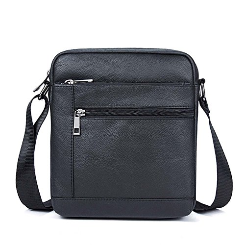 Uomo Pelle Borsa tracolla Messenger Bag Business casual stile Black