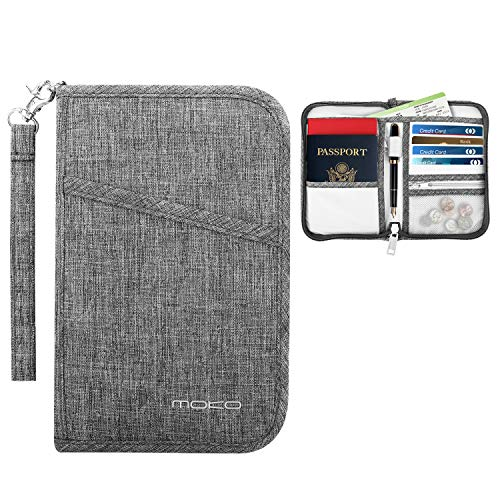 MoKo Travel Wallet Passport Holder, Family Passport Holder Cover RFID Blocking Document Organizer Case for Men & Women, Gray