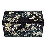 Madre de incrustaciones de nácar mariposa lacado madera cajón mujeres chica secreto joyas anillo pequeño tesoro de recuerdos Pendientes caja de regalo en el pecho organizador almacenamiento
