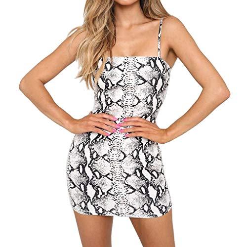 KPILP Frauen Mode Minikleid Sleeveless Sling Schlange Druck Mini Party Kleid Club Formelle Kleidung(Weiß,EU-40/CN-XL