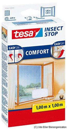tesa Insect Stop COMFORT Fliegengitter für Fenster / Insektenschutz mit selbstklebendem Klettband in Weiß / 100 cm x 100 cm