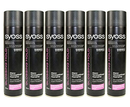 6 x Syoss Glossing Hold Brillance de Colles cheveux Spray – 400 ml
