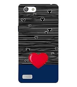 Fiobs phenominal red big heart shape symbol white lines Designer Back Case Cover for Oppo Neo 7