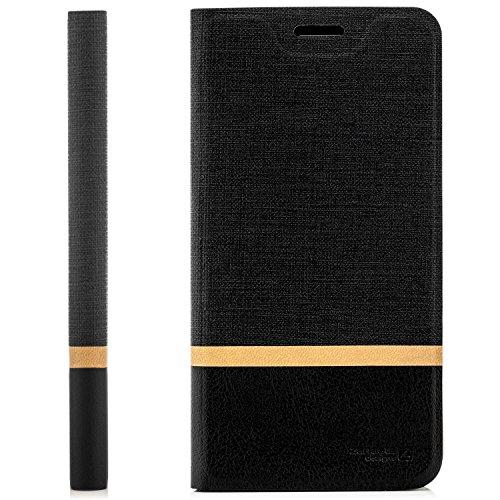 zanasta Tasche kompatibel mit ZTE Blade V8 Lite Hülle Flip Case Schutzhülle Handytasche mit Kartenfach Schwarz
