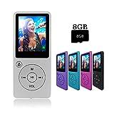 Crillutar Argento Lettore MP3 portatile MP3 / MP4 con scheda Micro SD da 8 GB, Visualizzatore foto di supporto, Registrazione vocale