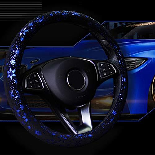 Auto Lenkrad Abdeckung Shiny Snowflake 4 Farben Anti-Rutsch-Niedlich F¨¹r 15 Zoll Frauen blau -
