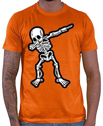 HARIZ  Herren T-Shirt Dab Skelett Dab Dabbing Tanzen Halloween Inkl. Geschenk Karte Orange S