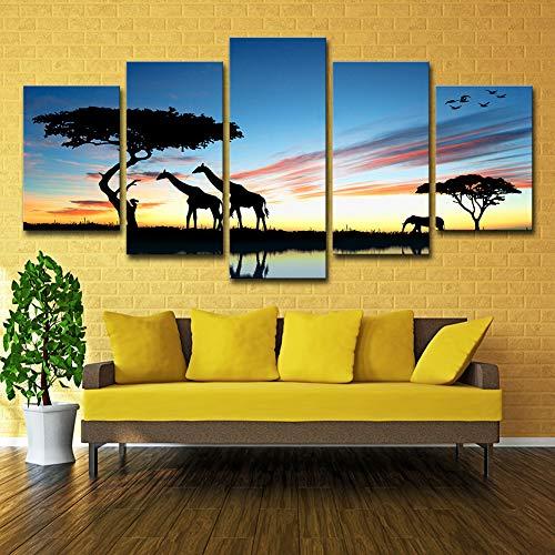 Pintura De Elefantes Africanos CuadrosEn Lienzo Arte De La Pared 5 Paneles...