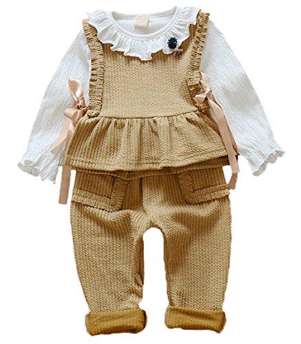 Scothen Baby Kinder Mädchen Warme Baumwoll Blumen Lange Hülsen T-Shirt+ Top+ lange Hosen Outfits Set Kleidung Set Bekleidungssets Baby (Fledermaus Kind Kostüme Kleid Gemütliche)