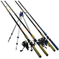 Cañero Trípode Hasta 4 Cañas Pescar Soporte Pesca Caña Altura Ajustable Pica