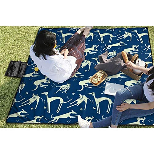 BigHappyShop Picnic Blanket Whippet-Greyhound-Midnight Waterproof Extra Large Outdoor Mat Camping Or Travel Easy Carry Compact Tote Bag -