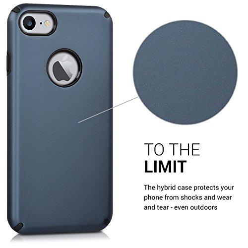 kwmobile Hülle für Apple iPhone 7 / 8 - Hybridhülle Dual Case Handy Schutzhülle TPU Silikon - Hybrid Cover Schwarz Metallic Blau