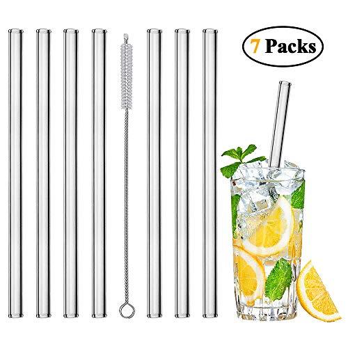 mixigoo Glas Strohhalm, Wiederverwendbar Trinkhalm 7 Stück 20 cm mit 1 Reinigungsbürste Strohhalm Transparent Glastrinkhalme für Cocktail, Smoothie, Saft -