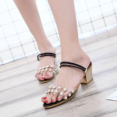 Lgk & fa sandali da donna estate pantofole sandali in estate paillettes due indossando spessa e Cool pantofole Black