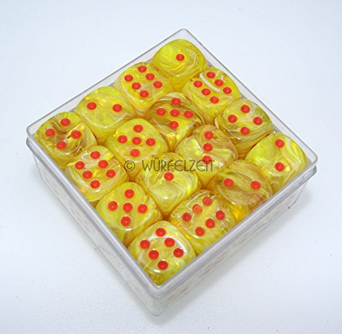 Würfelzeit 7344 - Würfel w6 12 mm, Cosmoo tornado-gelb m/orange (32er Set in Klarsichtbox) - Würfel Gelb In 12mm