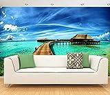 BHXINGMU Individuelle Fototapete 3D Große Wandbilder Malediven Landschaft Ktv Bar Wand 320Cm(H)×450Cm(W)