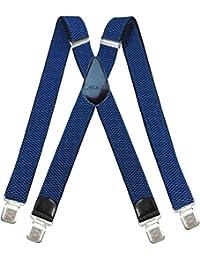 Tirantes Hombre X-Forma Elásticos Ancho 40 mm con clips extra fuerte totalmente adjustable todos los colores