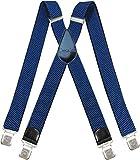 Decalen Hosenträger für Herren breit extra starken 4 cm mit 4er Clips X-Form lange für Männer und Damen Hose (Hellblau)