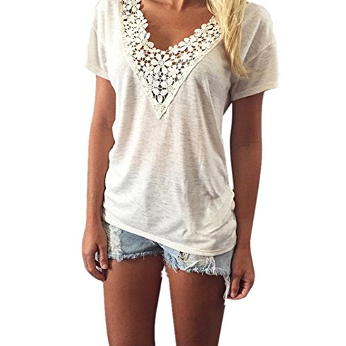 Kolylong Frauen Spitze Weste Spitze Bluse Tanktops T Shirt (S, Weiß)