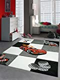 Kinderteppich Spielteppich Jungen Kinderzimmerteppich Auto Rennwagen rot schwarz Größe 140x200 cm
