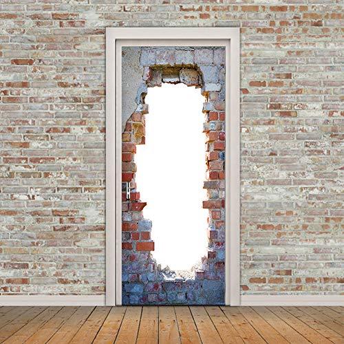 MINRAN DECOR 3D Photo Murales de Porte Porte de Mur de Brique Porte Peintures Autoadhésives Amovibles 3D Auto-adhésif Imperméable 200 * 77cm, 77 * 200cm