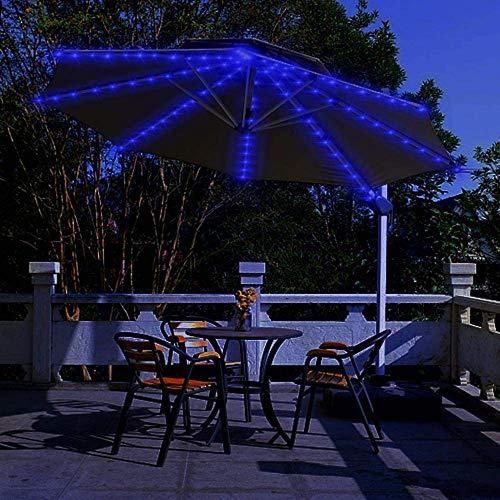 Terrasse Freischwinger Regenschirm Lichter, Solar lichterketten Draussen Markt Tisch Regenschirme dekorative Lichter, 8-Ribs 104 LED, 8-Mode, Twinkle Lichterketten für Weihnachtsbaum --blau