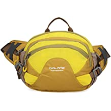 Unisex Deportes al aire libre gimnasio Camping senderismo bici riñonera cangurera soporte para botella de agua montando Ciclismo Escalada Bolsa de viaje cinturón de cintura bolsa, amarillo
