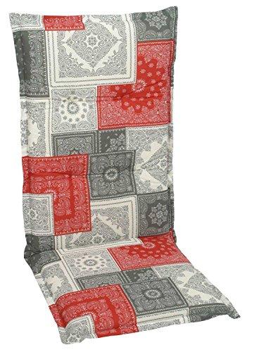 Sesselauflage Sitzpolster Gartenstuhlauflage für Hochlehner ANNEKE 1 | B 50 cm x L 120 cm | Rot-Grau | Baumwolle | Polyester