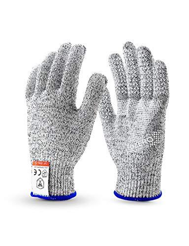 WYSTAO Food Grade Handschuhe Anti-Cut Anti-Rutsch atmungsaktiv Küche Schlachtung Out Arbeitsschutz volle Finger Frühling und Sommer Handschuhe (Farbe : M Yellow Side)