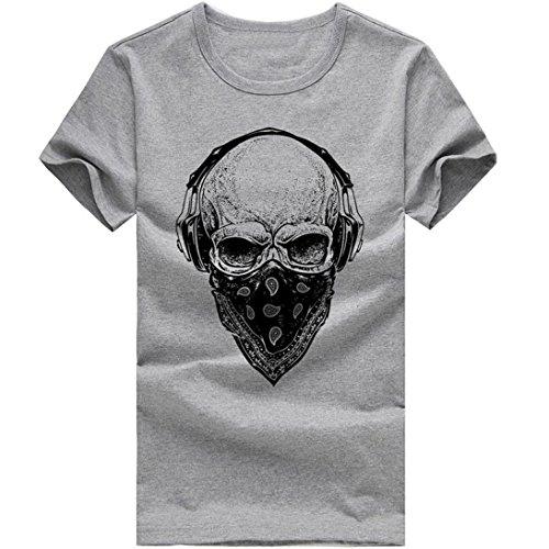 ❤️Tops Blouse Homme T-Shirt, Amlaiworld Homme imprimant t-Shirts T-Shirt Manches Courtes Blouse❤️ (L, Gris)