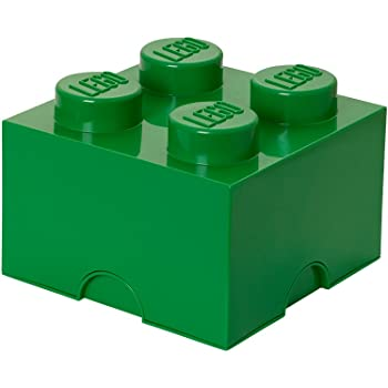 LEGO Brick 4 Knobs Stackable Storage Box, Dark Green, 5.7 Litre