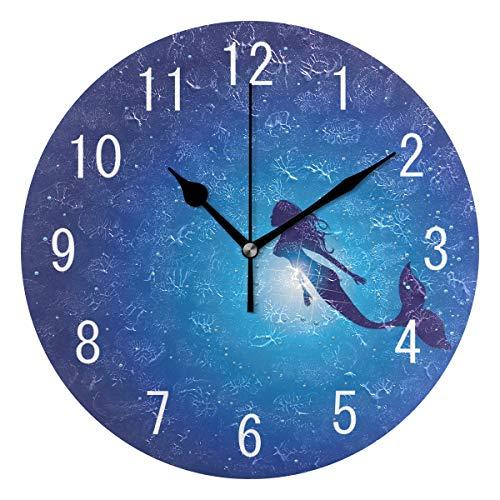 Use7 Home Decor Fantasy Unterwasserwelt Meerjungfrau Fisch Runde Acryl Wanduhr Nicht tickend leise Uhr Kunst für Wohnzimmer Küche Schlafzimmer -