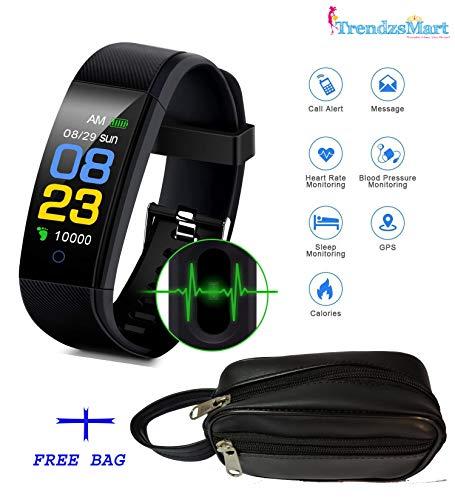 TrendzsMart M3-ID115 Smart Band for Men/Women Fitness Health Activity Tracker Bluetooth Sports Bracelet Digital Watch Pedometer Wrist Alarm Call & SMS Alert BP/Sleep Monitor Heart Rate USB Black