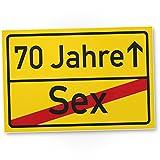 DankeDir! 70 Jahre (Sex) - Kunststoff Schild/Ortsschild, Geschenk 70. Geburtstag, Geschenkidee Geburtstagsgeschenk Siebzigsten, Geburtstagsdeko/Partydeko / Party Zubehör/Geburtstagskarte