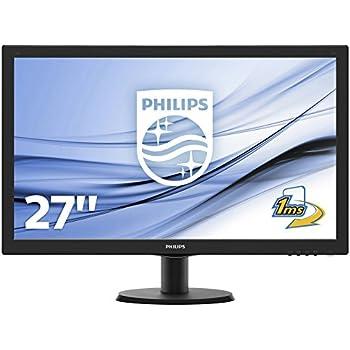 """Philips Monitores 273V5LHAB/00 - Monitor de 27"""" (resolución 1920 x 1080 pixels, tecnología WLED, contraste 1000:1, 1 ms, VGA), color negro"""