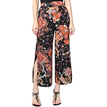 YuanDian Mujer Ocio Gasa Estampado Floral Palazzo Pantalon Talle Alto Ancho Grande Tamaño Fino Largo Pantalones