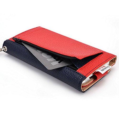 Kroo Pochette Téléphone universel Femme Portefeuille en cuir PU avec dragonne compatible avec protection d'écran Pioneer P5L/P4S Bleu - bleu Multicolore - Blue and Red