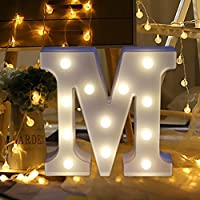 erthome 26 English Alphabet Lights LED Light Up White Plastic Letters Standing Hanging A-Z Home Decor Wall Light (M)