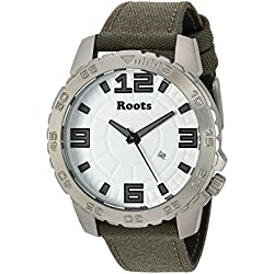 Roots Men's 'Core' Quartz Stainless Steel and Canvas Casual Watch, Color:Green (Model: 1R-LF600WH6G)