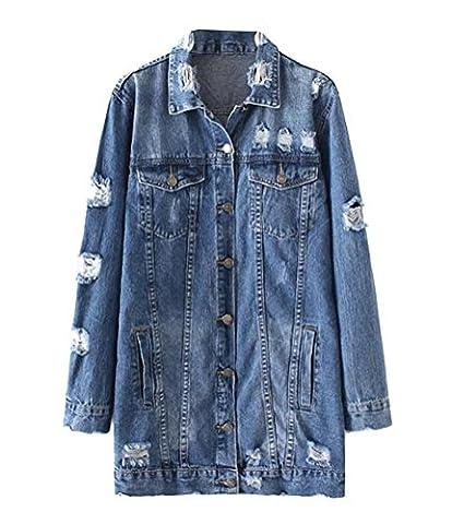 Brinny Mode Femme Trous Longue Veste en Jeans déchiré Destroyed Denim Blouson Jacket Used Lâche Manteau Trenchcoat Tops , Bleu - M