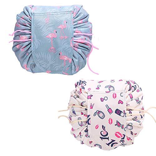 2 PCS Kosmetiktasche Lazy Kordelzug Reise Kosmetikbeutel Groß Kapazität Make-up Tasche Tragbare Wasserdicht Kulturtasche Kulturbeutel Schnelle Pack Schminktasche für Frauen Mädchen (Flamingo & Beige) -