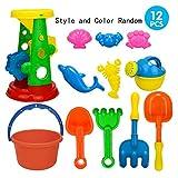 AiSi 12PCS Kinder Strandspielzeug Set Sand Spielset Sandspielzeug für Strand Spielplatz, Sand-Eimer Schaufel Sandförmchen Sanduhr Gießkanne, Baby Mädchen Jungen ab 3