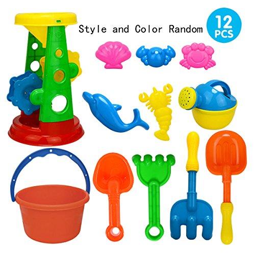 (AiSi 12PCS Kinder Strandspielzeug Set Sand Spielset Sandspielzeug für Strand Spielplatz, Sand-Eimer Schaufel Sandförmchen Sanduhr Gießkanne, Baby Mädchen Jungen ab 3)