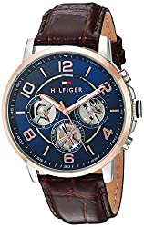 Tommy Hilfiger Mens Quartz Stainless Steel and Leather Casual Watch, Color:Black (Model: 1791290)