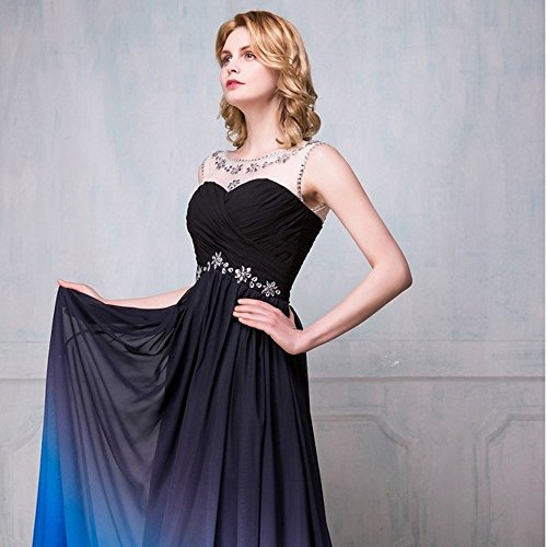 Drasawee - Robe - Taille empire - Femme Black and Royal Blue 2#