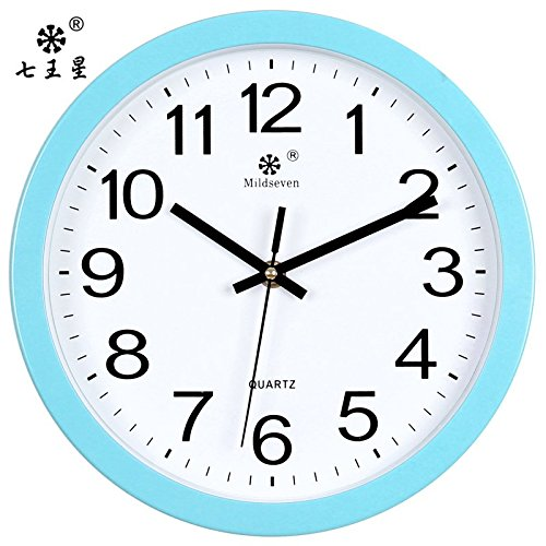 Beloved clock Wanduhr Modern Neu Für Jeden Raum präzise Wohnzimmer Leise elektronische Quarzuhr Wand Kreative Familie mit Einem 10 Zoll (25,5 cm) Durchmesser,9812 Ein Blauer Rand - Weiße Tastatur -