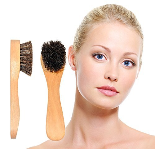 NEW Sublime Beauty® Face Brushes (2) in Pouch. Facial Brushes with Natural Bristles, Wooden Handles.