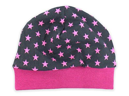 Baby-Mütze grau, 'Sterne' pink Kinder-Mütze Jerseymütze von Kleine Könige Größe 39-42cm (62/68), Farbe pink