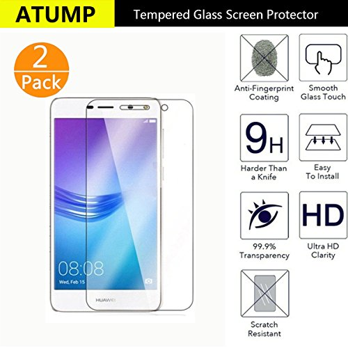 Atump Huawei Y6 2017 Screen Protector, [2 Pack] Premium Tempered Glass Screen Protector for Huawei Y6 2017 9H Hardness and Easy Bubble-Free Installation Invisible Shield Film Guard Cover